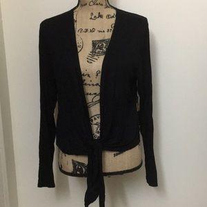 black bolero with a front tie
